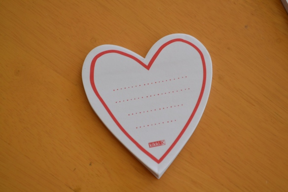 - My new heart-shaped sticky notes from the gorgeous Martine...Thank you -