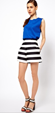 - ASOS High Waisted Shorts in Black/White bold stripe ($51) -