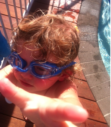 - More fun in the sun, by the pool...and Evie in those goggles -