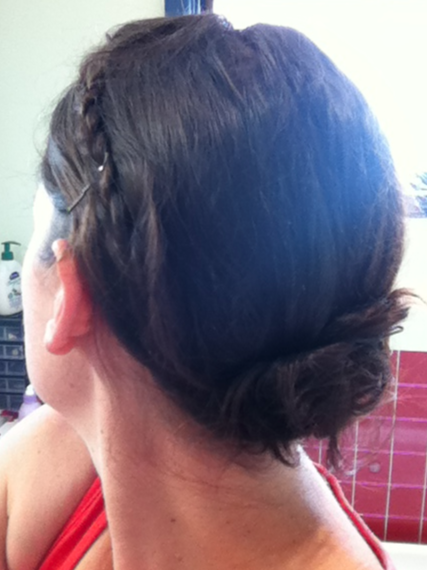 - Day 6: Side-platted fringe with pinned low bun. Liked this a lot, but used a lot of pins! -