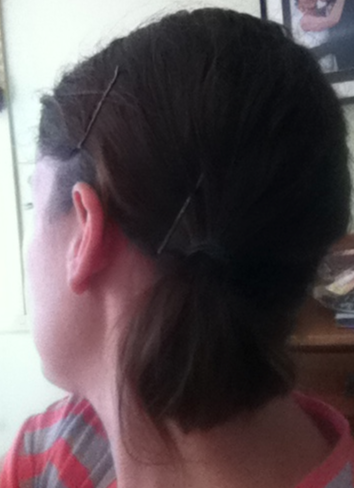- Day 2: Low Side Half Pony Tail. This was ok, but admittedly was in a hurry and could have been better -