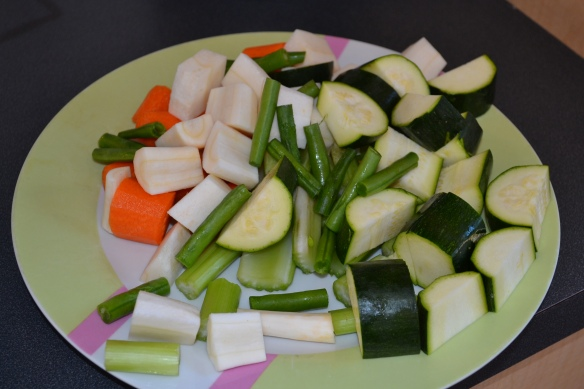 - Cut veggies into manageable-sized pieces -
