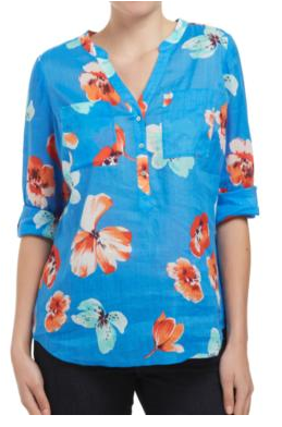 - Sussan Pretty Floral ramie shirt in mid-blue $79.95 -