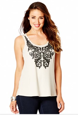 - Katies bead detail top in cream pearl $29.95 -